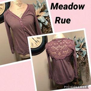 Meadow Rue Lace back Long sleeve Top